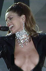 oops, canadian country music star shania twain suffers a nipslip on stage